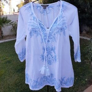 Tommy Bahama embroidered boho top